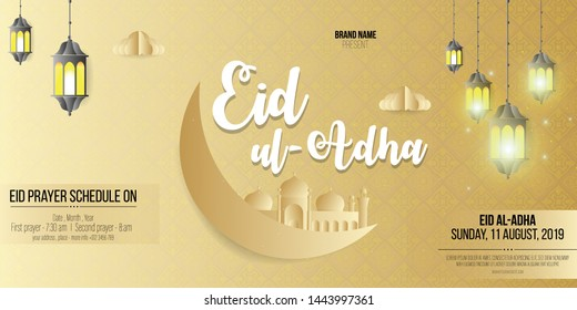 Eid ul-Adha Celebration flyer, banner, template or poster for muslim community festival, Eid celebration.