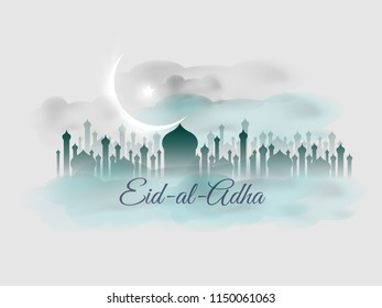 Eid-al-Adha Creaive Baaner with moon, Star and mosque