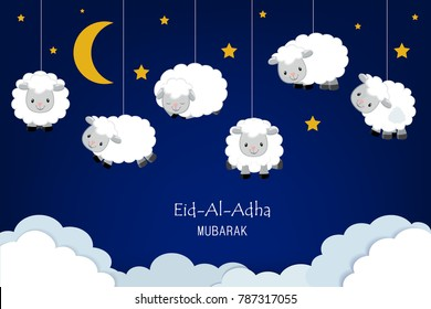 Eid-al-adha festival background with sheep