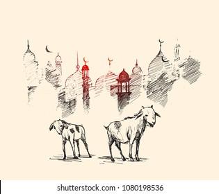 Eid-al-adha. Hand drawn sketch vector illustration.