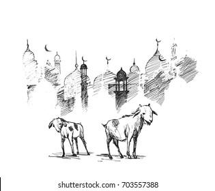 eid-al-adha. Hand drawn vector illustration.