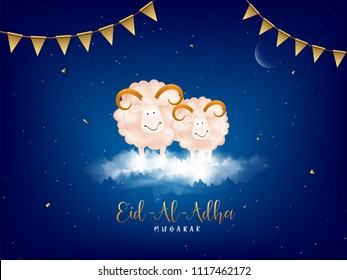 Eid-Al-Adha, Islamic festival of sacrifice concept with happy sheeps and golden bunting flags on blue cloudy background.