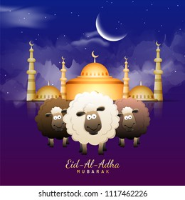 Eid-Al-Adha, Islamic festival of sacrifice with illustration of happy sheeps, golden mosque and crescent moon, blue night background.