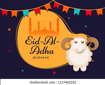 Eid-Al-Adha, Islamic festival of sacrifice with illustration of happy sheep, mosque silhouette and colorful bunting flags on purple background.