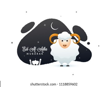 Eid-Al-Adha, Islamic festival of sacrifice with sheep, crescent moon, mosque on abstract background.