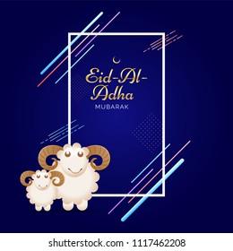 Eid-Al-Adha Mubarak, Islamic festival of sacrifice with illustration of happy sheeps on abstract background.