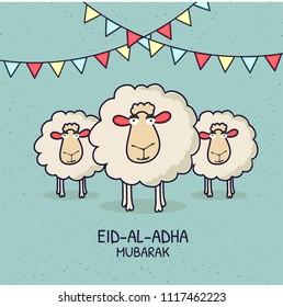 Eid-Al-Adha Mubarak, Islamic festival of sacrifice with illustration of happy sheeps,  and bunting flags. Line-art illustrations.