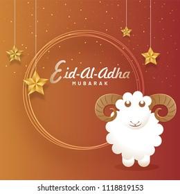 Eid-Al-Adha Mubarak, Islamic festival of sacrifice concept with happy sheep, hanging golden stars. Greeting card deisgn.