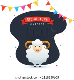 Eid-Al-Adha Mubarak, Islamic festival of sacrifice celebration concept with sheep and view of a mosque in crescent moonlight night with bunting flags.