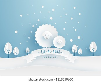 Eid-Al-Adha Mubarak, Islamic festival of sacrifice concept with paper art element sheeps, and trees on sky blue nature background.