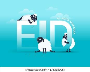 Eid-Al-Adha Mubarak Text with Three Cartoon Funny Sheep on Sky Blue Background.