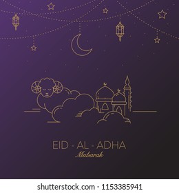 Eid-al-Adha Mubarak Vector Graphic Card.  Moon, lantern, mosque in the clouds.