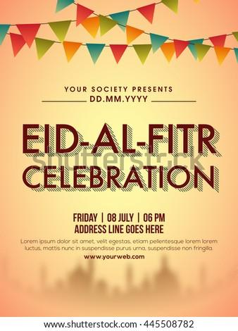 Eid Al Fitr Celebration Invitation Card Design Decorated Stock