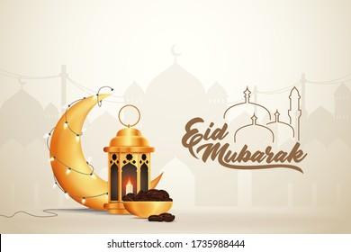 Eid-al-fitr Eid-al-adha Eid Mubarak Greetings Vector Illustration Background