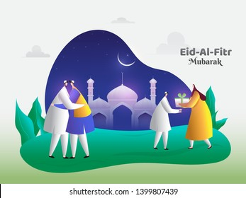 Eid-Al-Fitr Mubarak poster or banner design. Cartoon character of man and woman hugging each other on Eid Party.