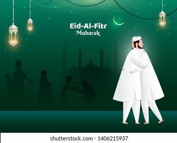 Eid-Al-Fitr Mubarak poster or banner design. Cartoon character of men hugging each other on Eid Party.