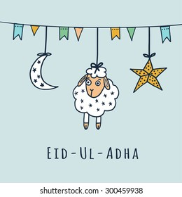 Eid-ul-adha greeting card with sheep, moon, star and flags, muslim community festival of sacrifice