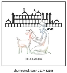 Eid-Ul-Adha, Islamic festival of sacrifice concept with line-art illustration of an Islamic man praying before qurbani (sacrifce) of goat in front of mosque.