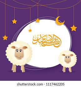 Eid-Ul-Adha, Islamic festival of sacrifice concept with happy sheeps, hanging moon and stars and arabic calligraphic text Eid-Ul-Adha on purple background.
