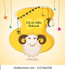 Eid-Ul-Adha, Islamic festival of sacrifice with illustration of sheep, and line-art illustration of gift boxes, and stars on yellow and beige background.