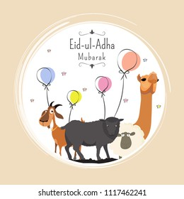Eid-Ul-Adha, Islamic festival of sacrifice with illustration of sheep, goat and camel, and line-art illustration of balloons background.