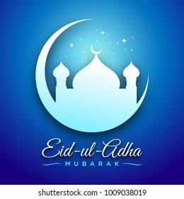 Eid-ul-Adha Mubarak Blue Scene Vector Graphic Card Design