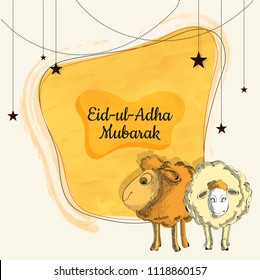 Eid-Ul-Adha Mubarak, Islamic festival of sacrifice with illustration of sheeps, hanging stars on yellow background. Greeting card design.