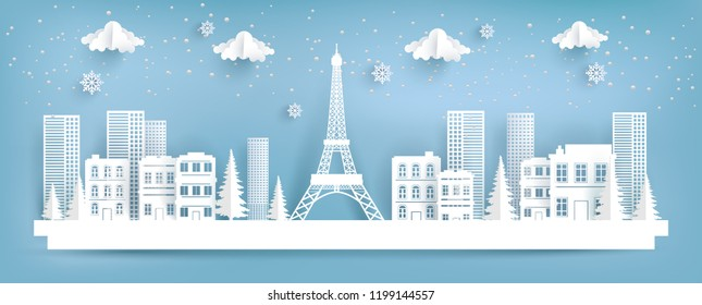 eifel tower and city in winter. paper art design.
