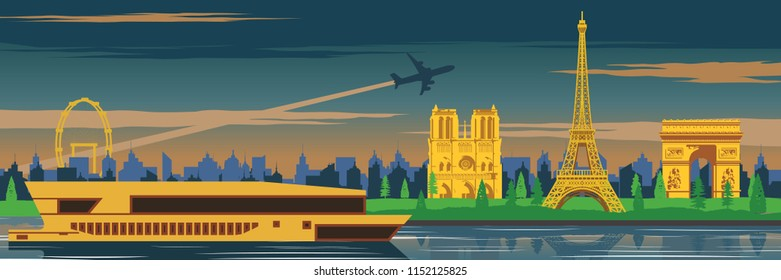 Eifel tower and top famous landmark and symbol of France,for cloth and web design,national flag color,vector illustration