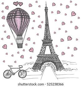 Фотообои Eiffel Tower and air balloons