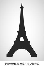 Eiffel tower black on a white background illustratin