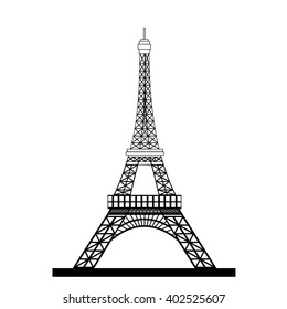 Eiffel Tower Black Silhouette Vector Illustration