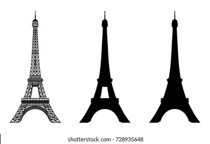 eiffel vector images stock photos vectors shutterstock https www shutterstock com image vector eiffel tower black silhouette vector illustration 728935648