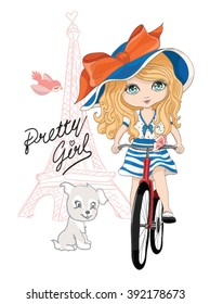Eiffel tower and cute girl with bicycle vector illustration.