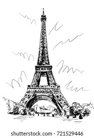 Eiffel Tower drawn by pen and tracing, picture tracing, drawing by hand, Paris, France.
