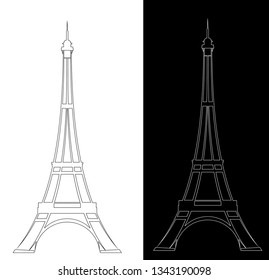 eiffel tower elegant contour drawing outline - black and white vector landmark design set