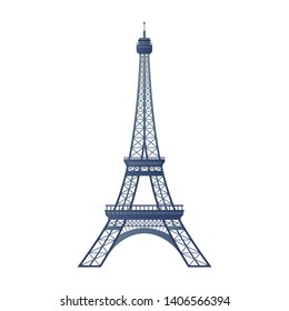 Eiffel Tower flat icon. Landmark of Paris, France, historical sign. Illustration for web page, mobile app, banner, social media, button. UI/UX and GUI user interface symbol. Vector clipart, template.