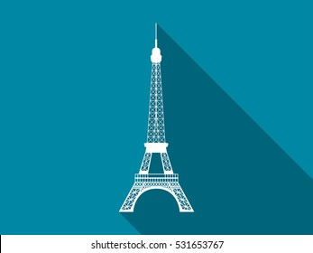 Eiffel Tower flat icon with long shadow. Vector illustration