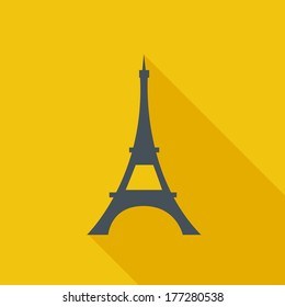 Eiffel Tower Flat Icon. Vector Pictogram. EPS 10.