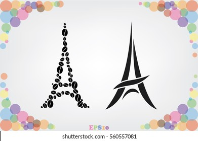 Eiffel tower in the form of coffee beans, vector illustration.