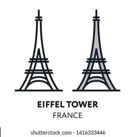 Eiffel Tower. France Paris Landmark Sight Vector Flat Line Icon Illustration.