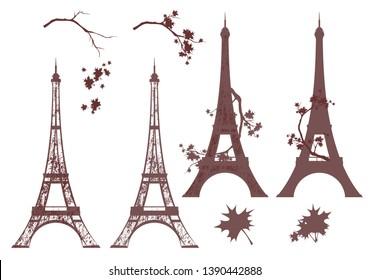 eiffel tower grunge silhouette and autumn maple branches - fall season in paris vector design set