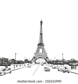 Eiffel Tower hand drawn, vector illustration