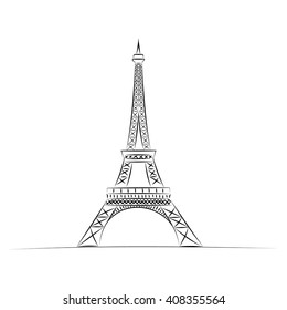 eiffel tower hand drawn vector illustration