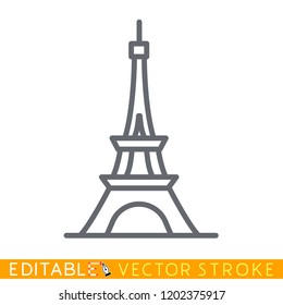 Eiffel tower icon. Best tourist destinations in the world. Editable vector stroke set icons.