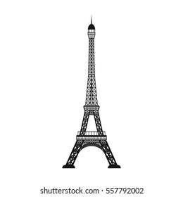 Eiffel tower icon in black style isolated on white background. Countries symbol stock vector illustration.