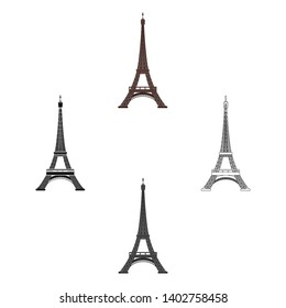 Eiffel tower icon in cartoon,black style isolated on white background. France country symbol stock vector illustration.