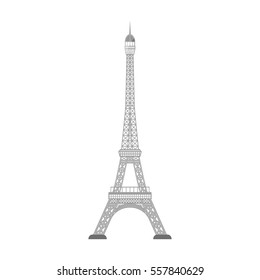 Eiffel tower icon in monochrome style isolated on white background. Countries symbol stock vector illustration.