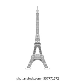 Eiffel tower icon in outline style isolated on white background. Countries symbol stock vector illustration.