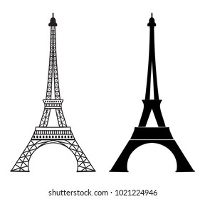 Eiffel tower icon. Popular Paris monument and tourist attraction. Outline monochrome design. Logo or label template.